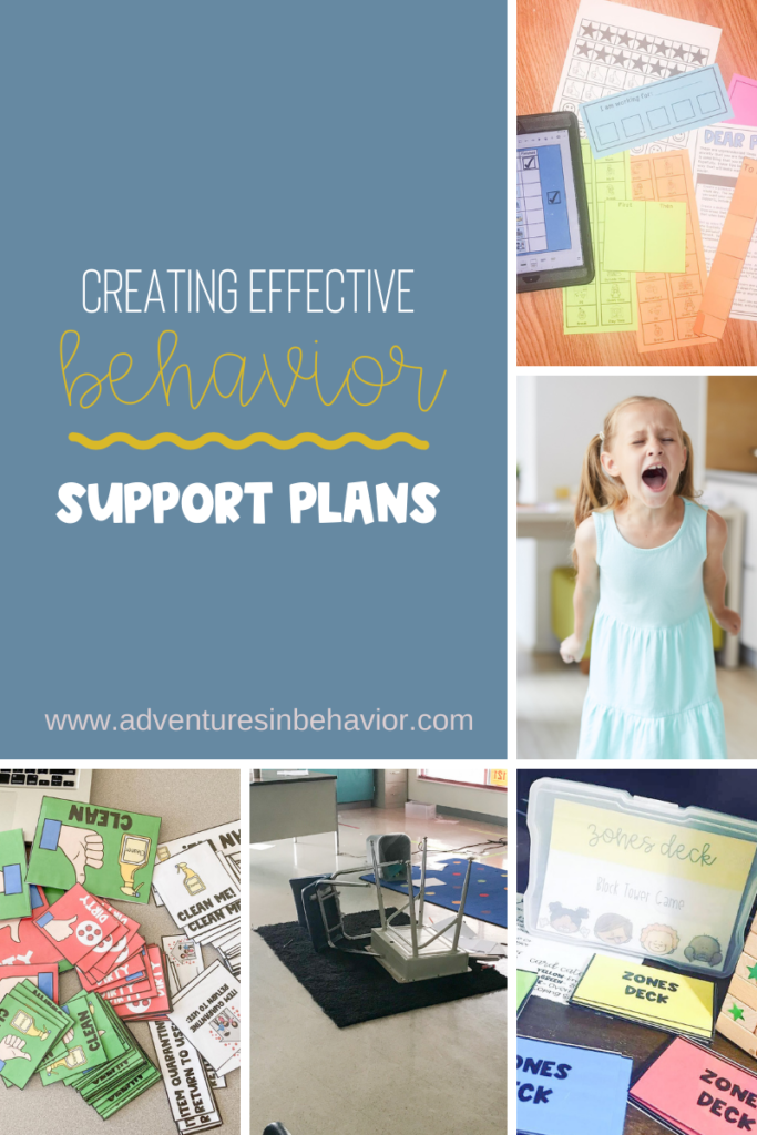 Image is a collage of visuals, behavior photos, and resources with a text box that read Creating Effective Behavior Support Plans.